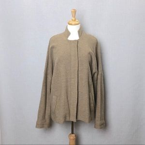EILEEN FISHER Camel Tan Merino Wool Zip Jacket XL